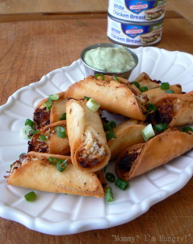 Chicken, Bacon, Cream Cheese mini tacos w/avocado sauce for dipping. Yum!