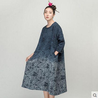 Jiqiuguer Brand women's vintage long-sleeve o-neck gradient color dresses medium-long print one-piece dressL153Y013