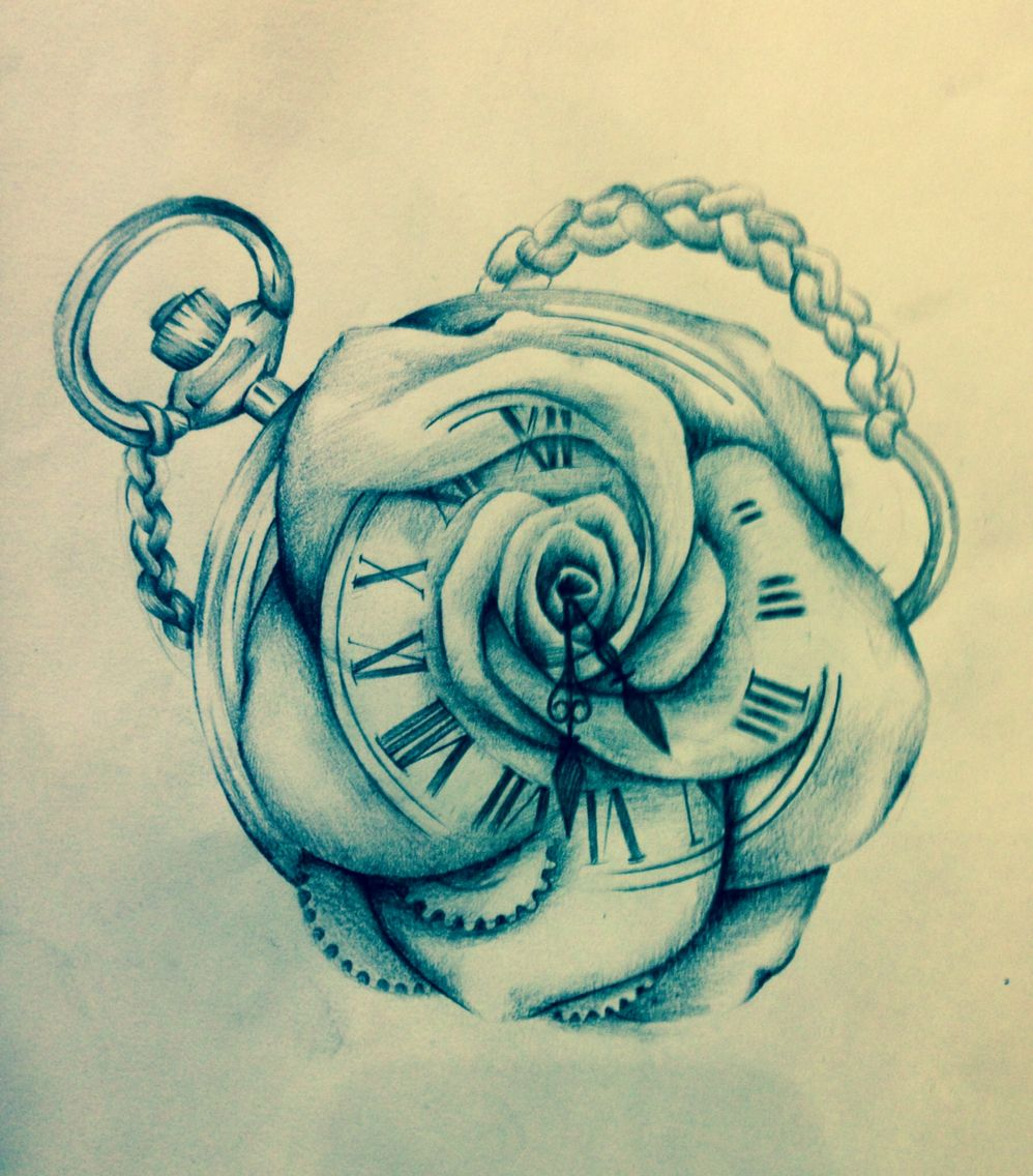 Rose Clock Tattoo Designs Drawing: Clock Rose Merge Drawing Sketch
