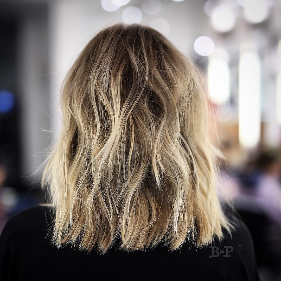 Tousled Sunflower-Blonde Shoulder-Length Hair with Choppy ...