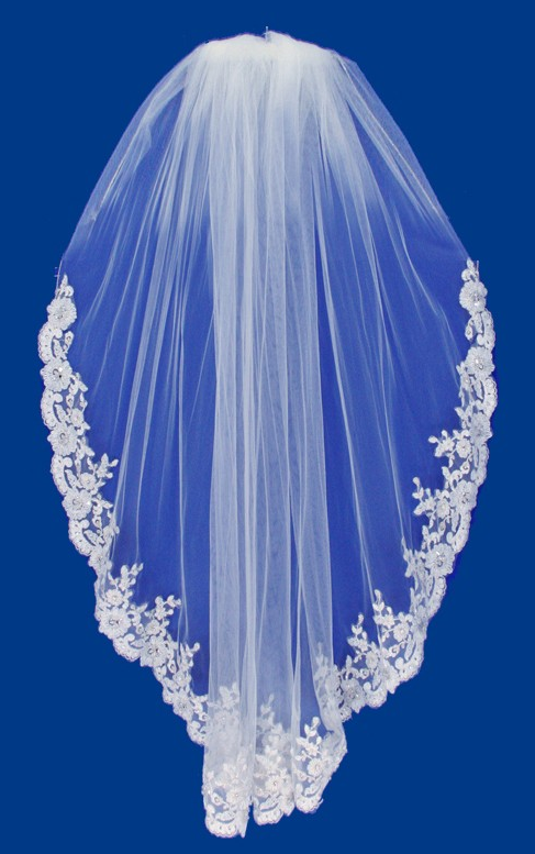 Ivory Beaded Lace Elbow Length Wedding Veil V2089