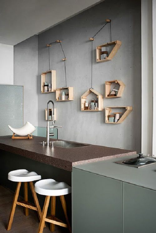 cucina con scaffali o mensole | Cucina | Mensole, Arredamento e ...