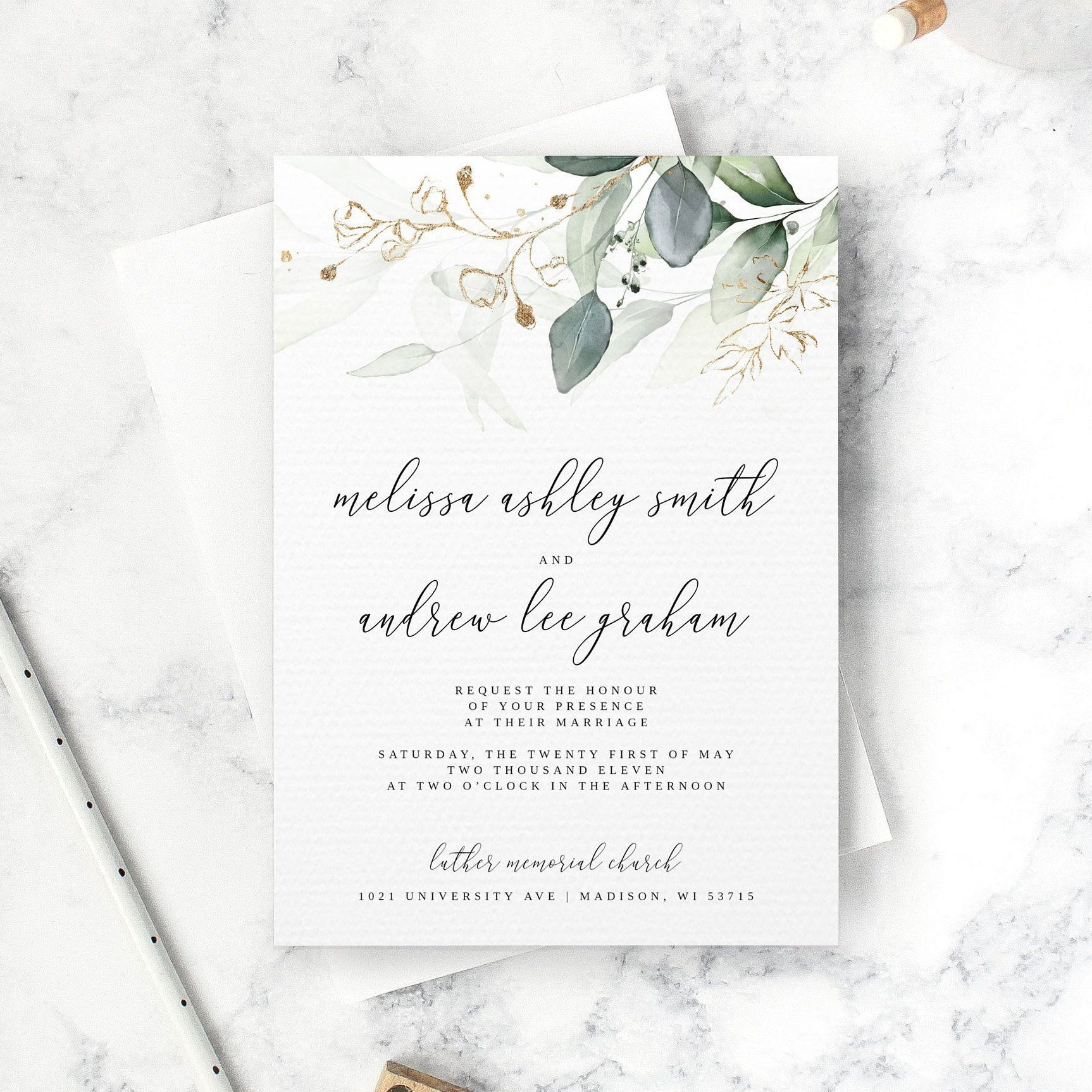 Eucalyptus Wedding Invitation Set Template Invitation Only Etsy Wedding Invitation Templates Eucalyptus Wedding Invitation Wedding Invitations Leaves