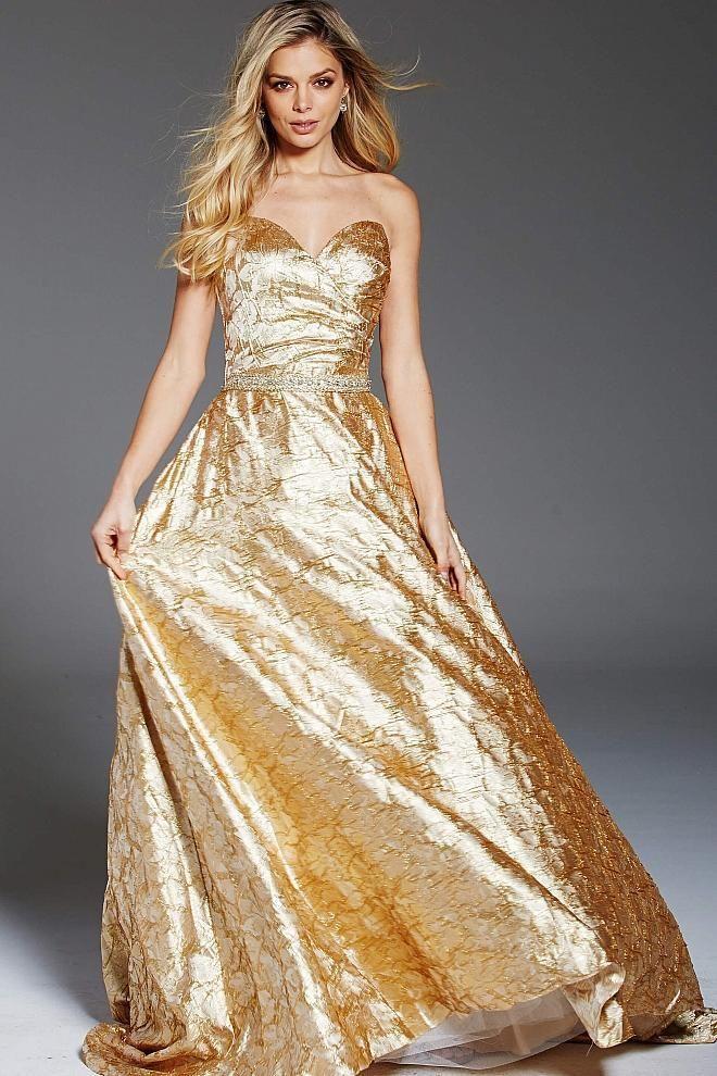 Jovani 66787 | Nude Crystal Embellished High Slit Dress