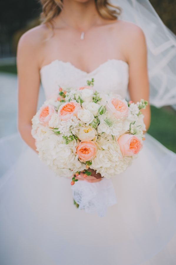 peach garden rose and white hydrangea bridal bouquet