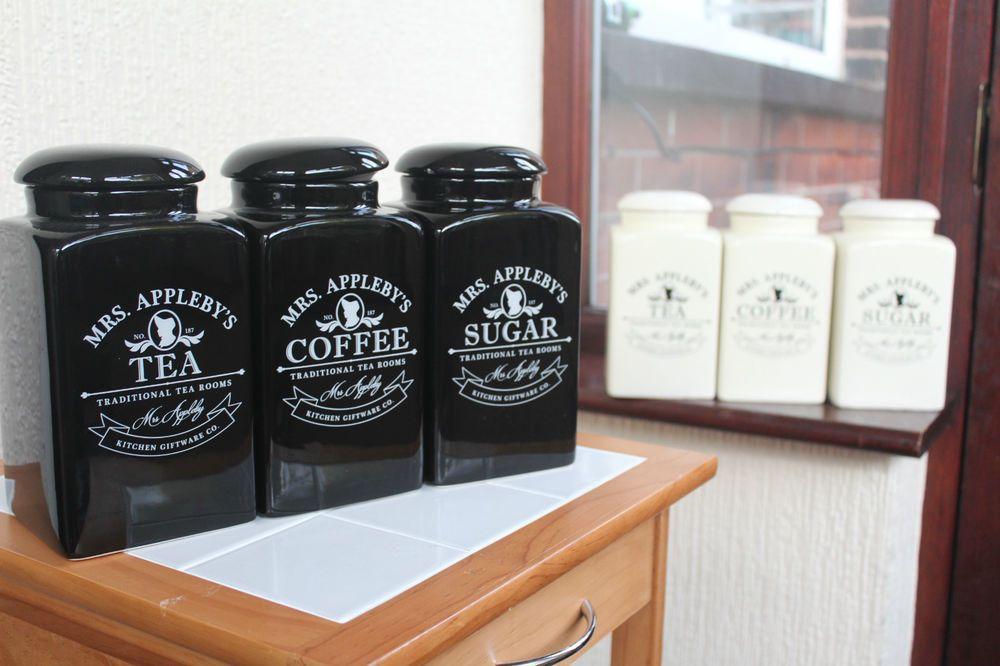 Mrs Leby S Set Of Tea Coffee Sugar Jars Canisters Glossy Black Cream