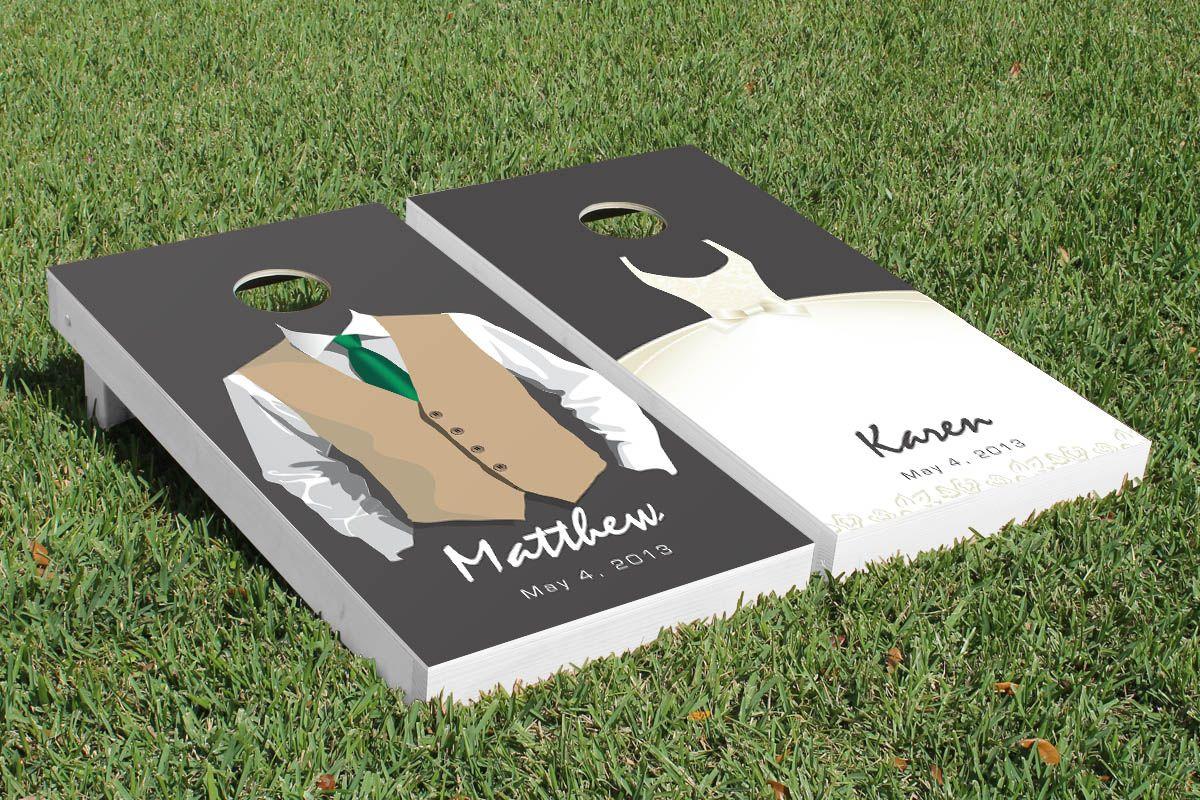 Custom Vest & Dress Wedding Cornhole Game Set | Cornhole design ...