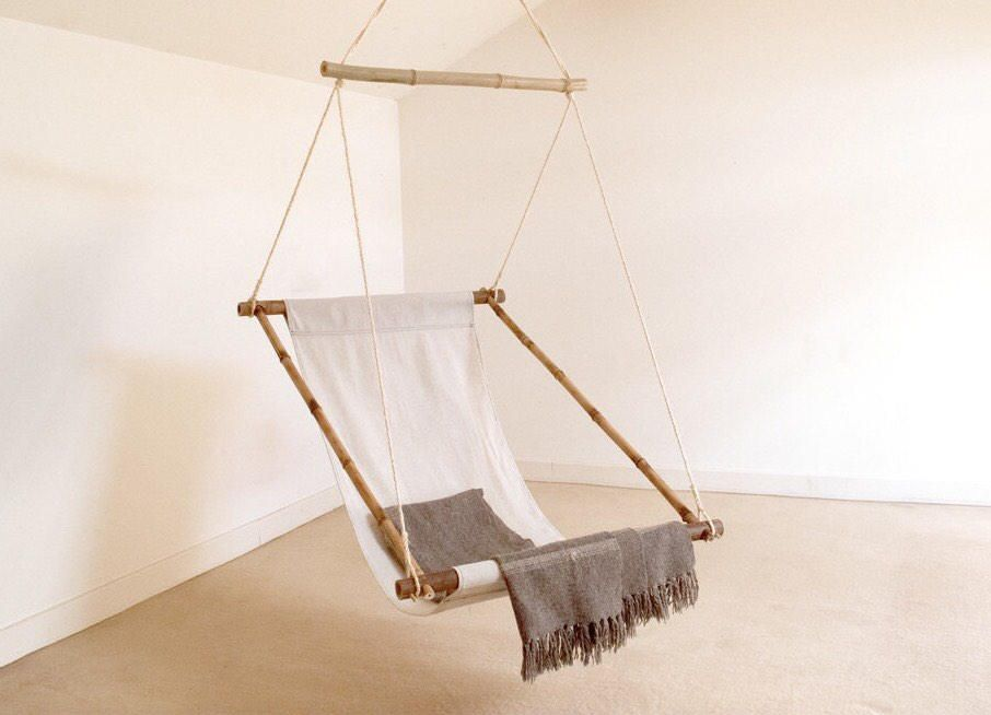 Fauteuil Relax Suspendu En Bambou Et Tissu Coton Balancelle Ou Hanging Chair Chaise Hamac Collection Hanging Chair Swinging Chair Diy Hanging Chair
