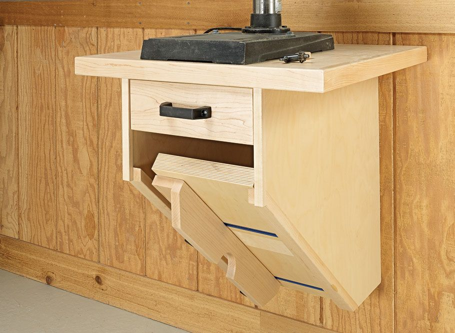 Wall Mounted Drill Press Table Woodworking Project