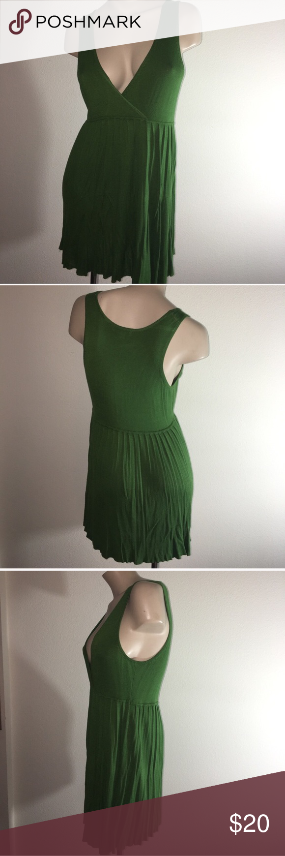 Green bcbg deep v neck mini dress guc mini dresses and minis