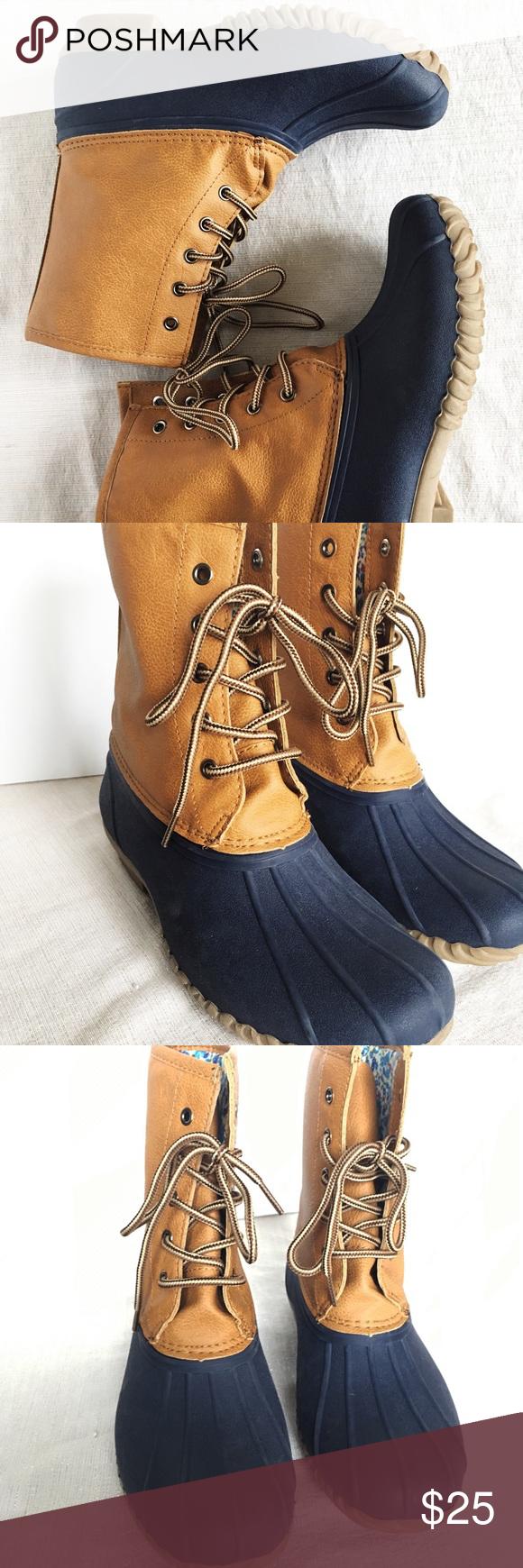 Cognac Faux Leather Duck Rainboots sz