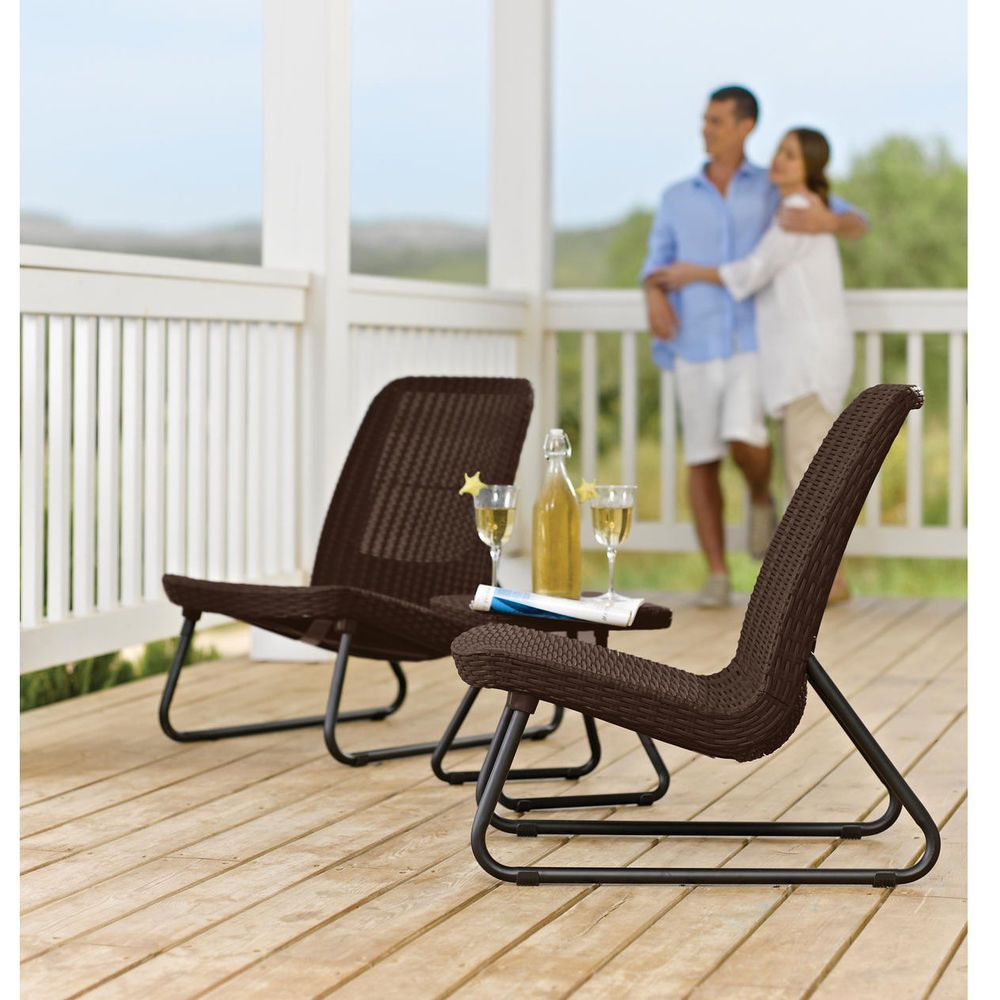 Wicker Patio Set 3 Piece Molded Rattan Conversation Furniture 2 Chairs and Table #Keter #ModernConversationFurniture
