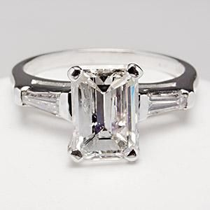 1.5 Carat Emerald Cut Diamond Engagement Ring w/ Tapered Baguette Accents  14K White Gold