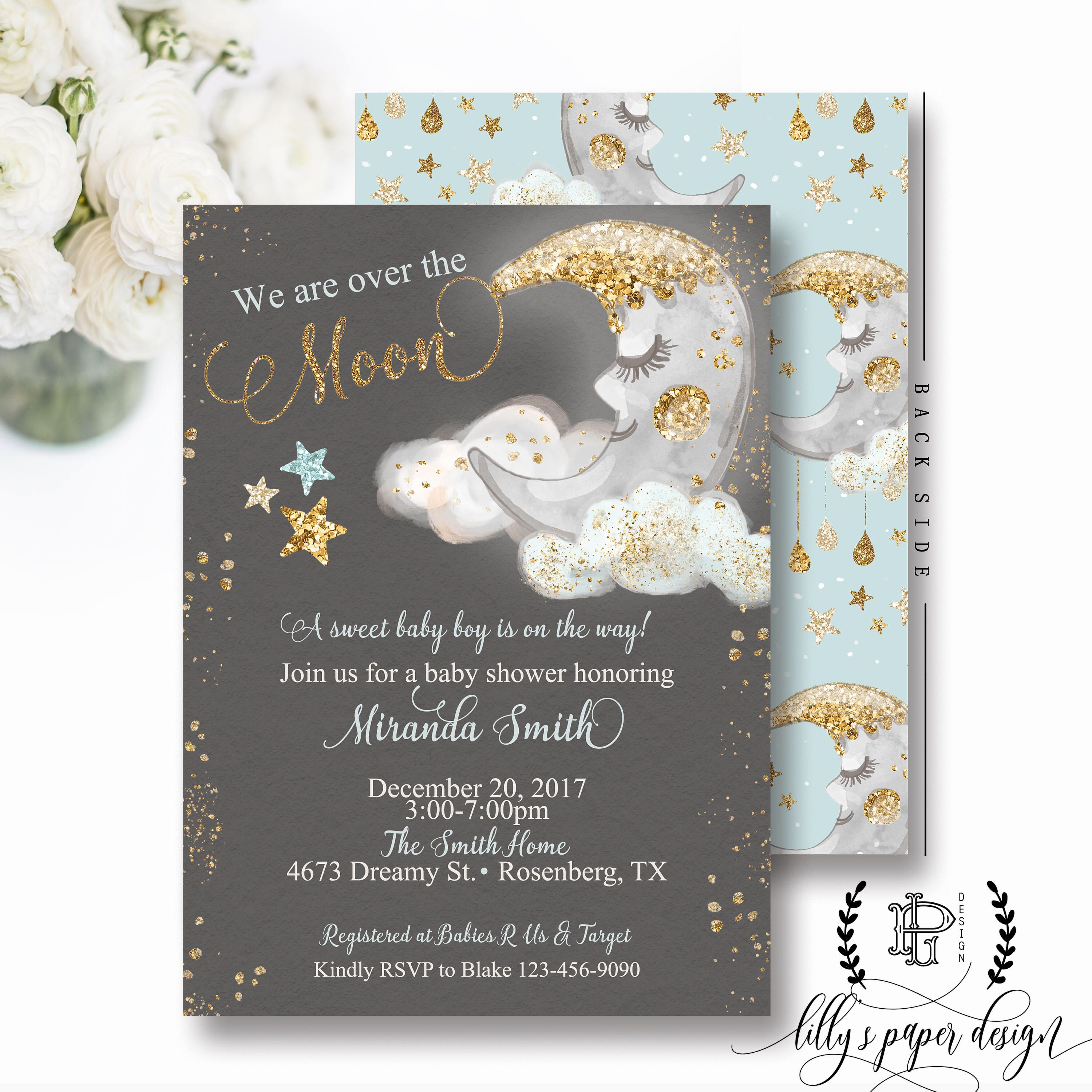 Pin By Lilly S Paper Design On Over The Moon Baby Shower Theme In