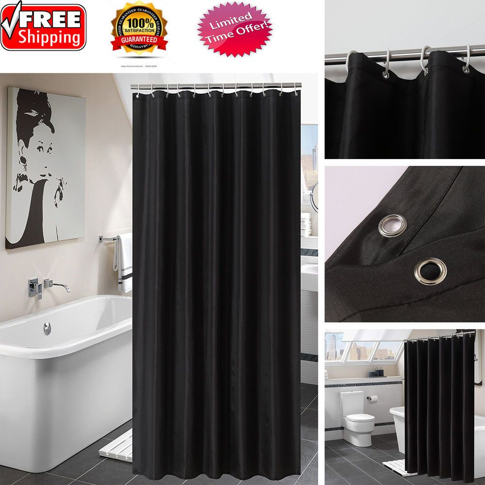 Luxury fabric shower curtain with hooks bathroom decor waterproof