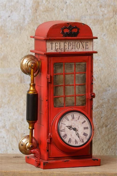 New Rustic Vintage Antique Style London Red Phone Booth Clock Standing 16