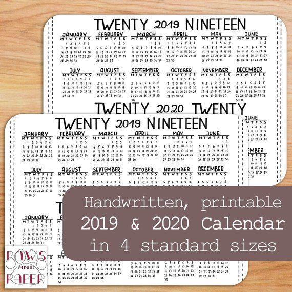 Printable 2019 2020 Horizontal Calendar, A5 Planner Insert, Bullet