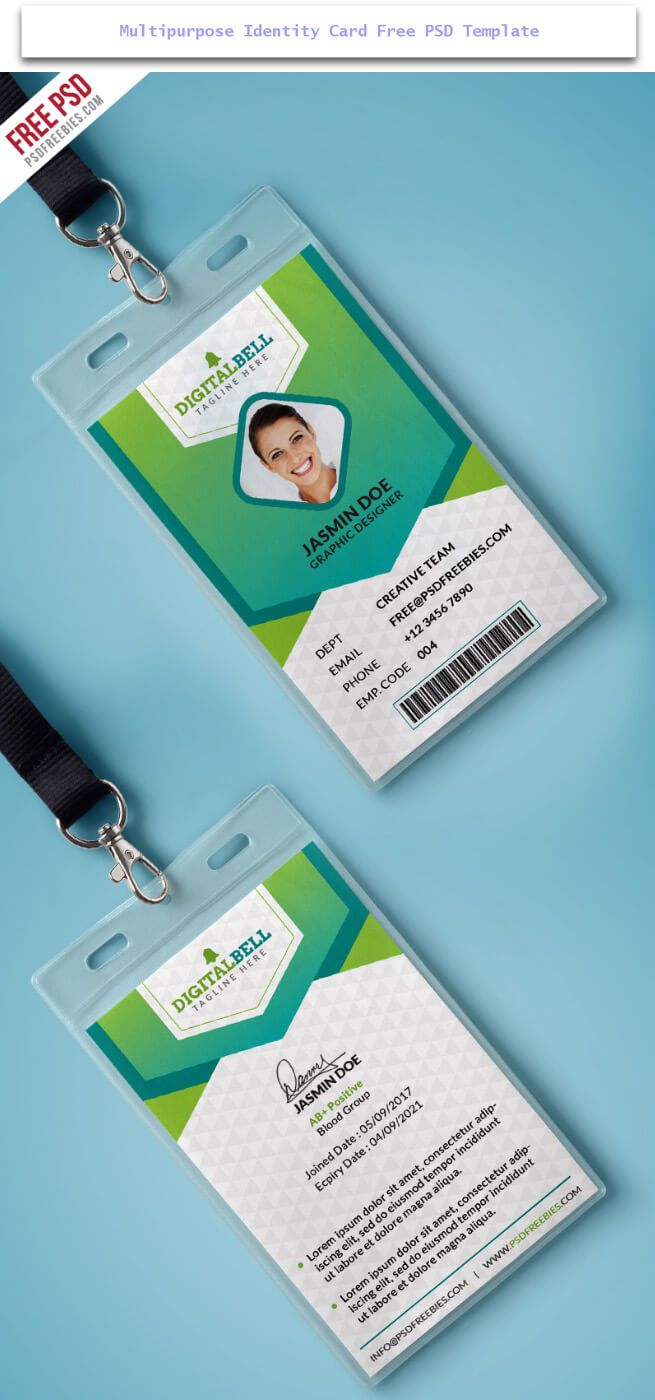 Multipurpose Identity Card Free Psd Design Desk Pinterest Buy - Card template free: employee id card template