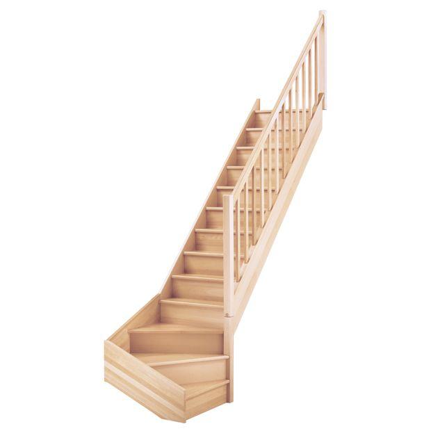 Escalier 1 Qt Primo Hêtre Rampe Fuseaux Droits Lapeyre
