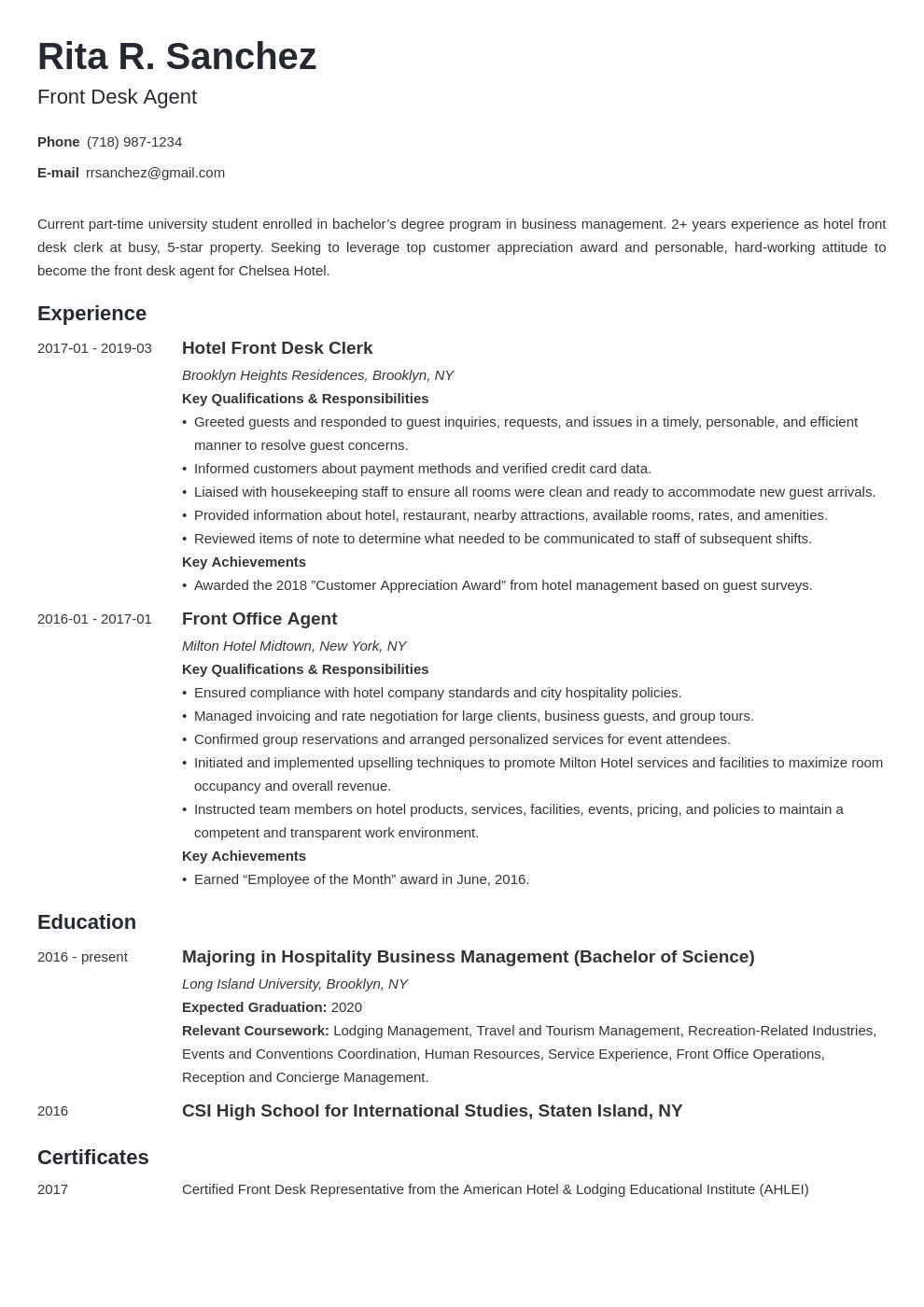 Hotel Front Desk Resume Resume Examples Job Resume Examples Resume Template Examples