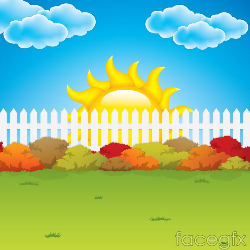 Cartoon garden fence background vector