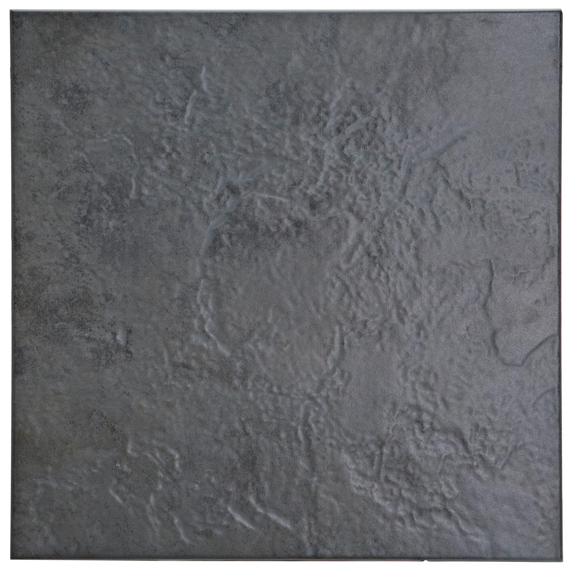 Cirque Black Ceramic Floor Tile Pack Of 9 L 333mm W 333mm