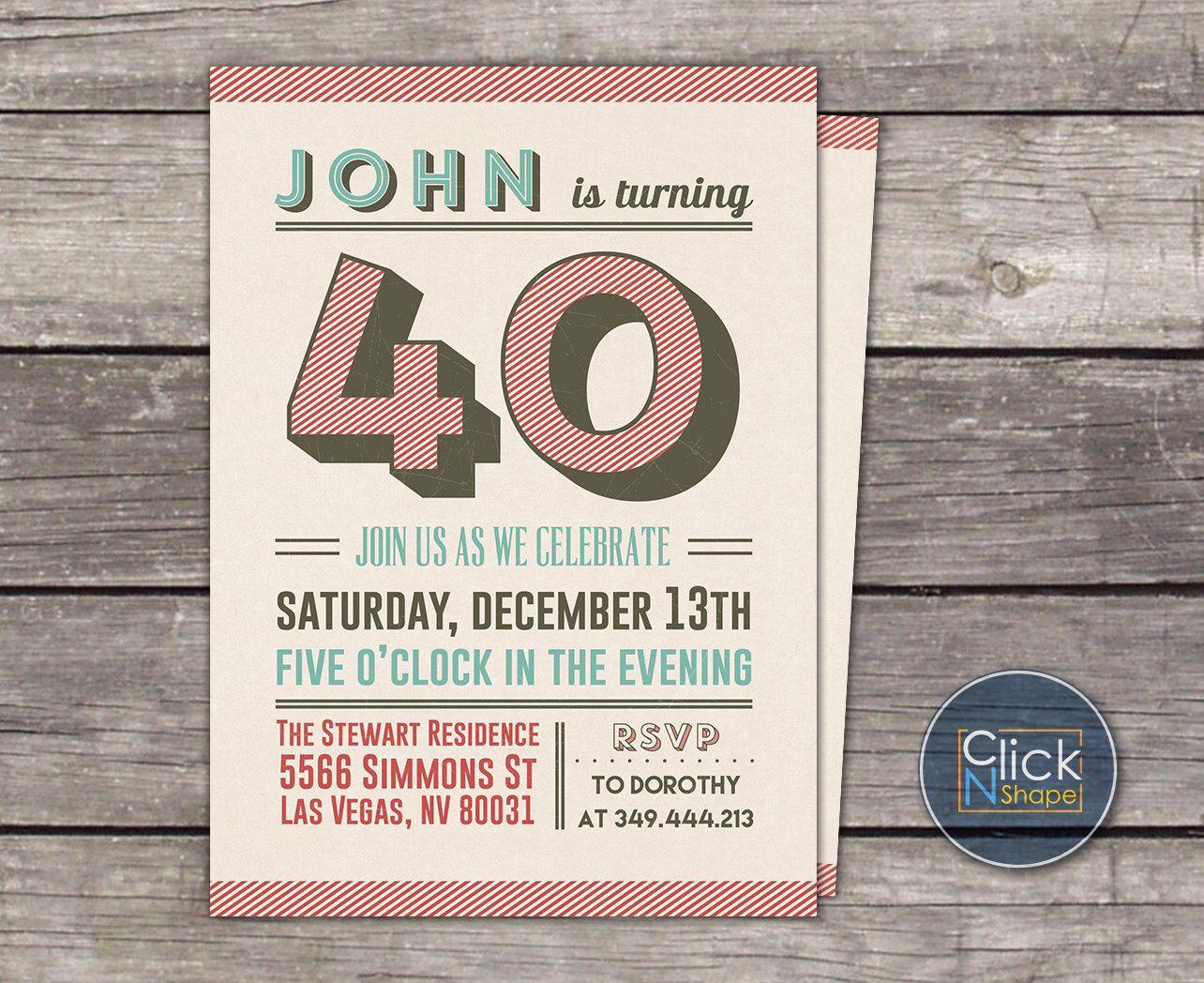 30th 40th 50th 60th Birthday Invitation // Typography Invitation ...