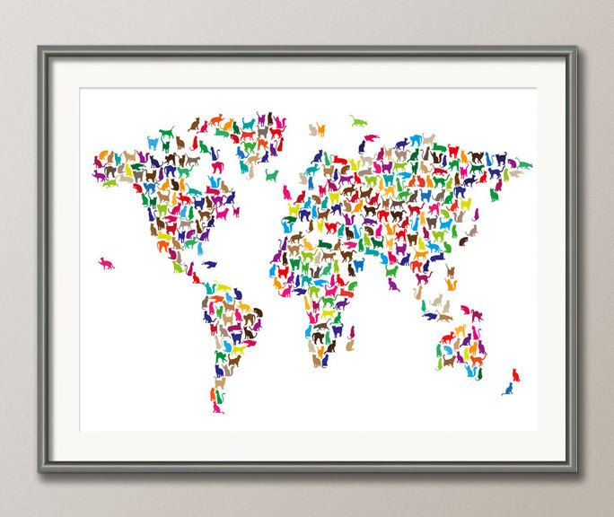 Cat Map Of The World.Cats Map Of The World Map Art Print 181 Awesome Craftiness