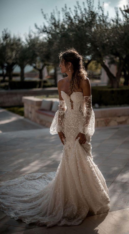 Best Wedding Dresses to Swoon Over Stunning wedding dresses with amazing details, lace wedding dress,long sleeves wedding dress,deep plunging neckline wedding dress,heavy embellishment wedding dress #weddingdress #weddinggown