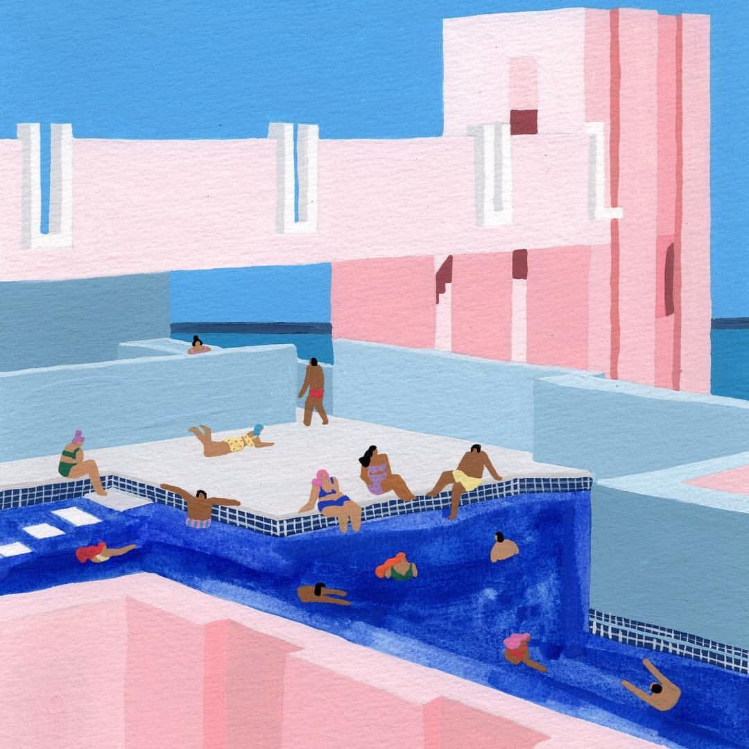 Spain Pool Gouache On Paper Painting Art