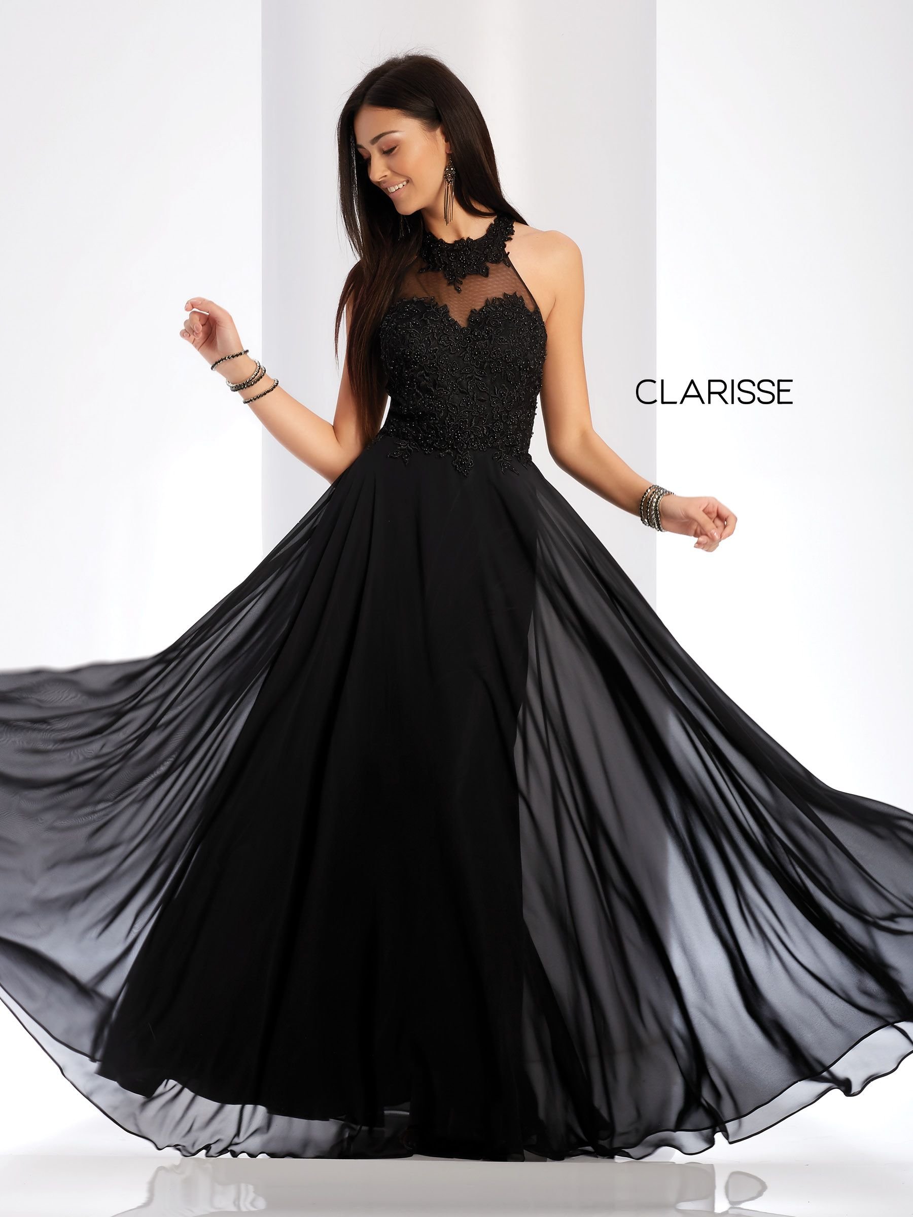 c57ba922eefa 3528 - Black chiffon prom dress with a halter neckline and a beaded mesh top