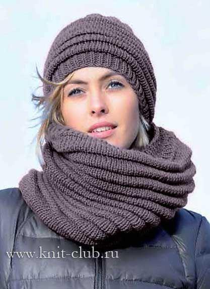 оригинальная вязаная шапочка и шарф труба спицы шапки шарфы