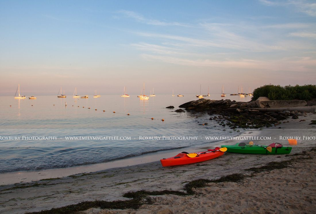 Landscapes sunset landscaping and park crescent beach sunset kayaks parked on the shore of niantic bay in niantic sciox Choice Image