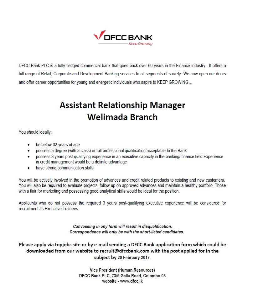 Assistant Relationship Manager at DFCC Bank Career First - commercial manager job description