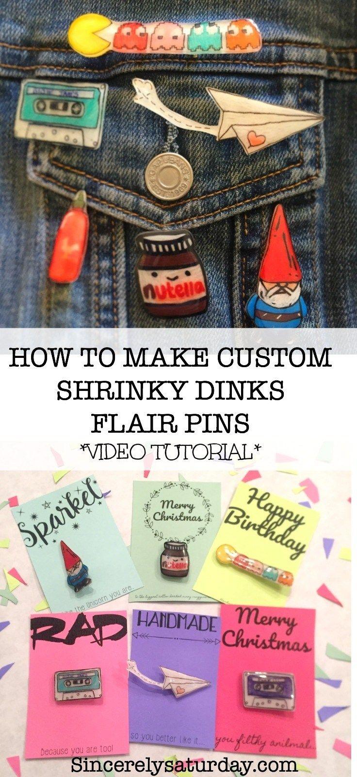 MAKE CUSTOM FLAIR PINS USING SHRINKY DINKS - VIDEO TUTORIAL | Sincerely Saturday