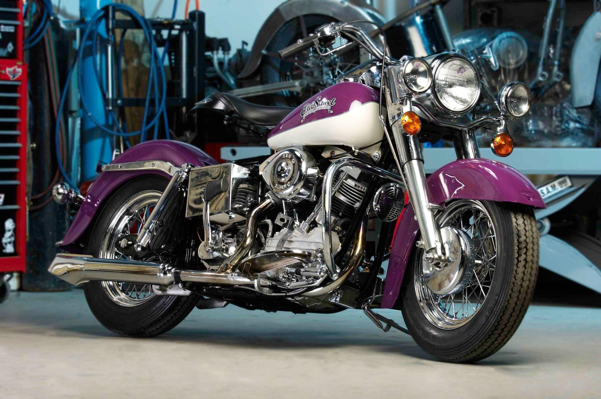 Old School Purple American Motorcycle Old School Motorcycles