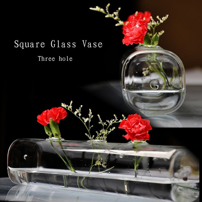 Fashion Personalized Square Glass Vase With 3 Holes Clear Glass Vase