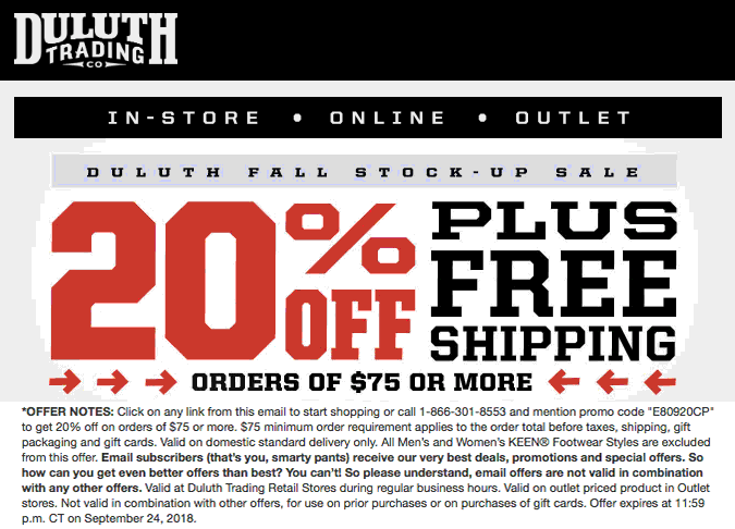 Pinned September 21st 20 Off 75 At Duluth Trading Co Or Online Via Promo Code E80920cp Thecouponsapp Shopping Coupons Duluth Trading Trading