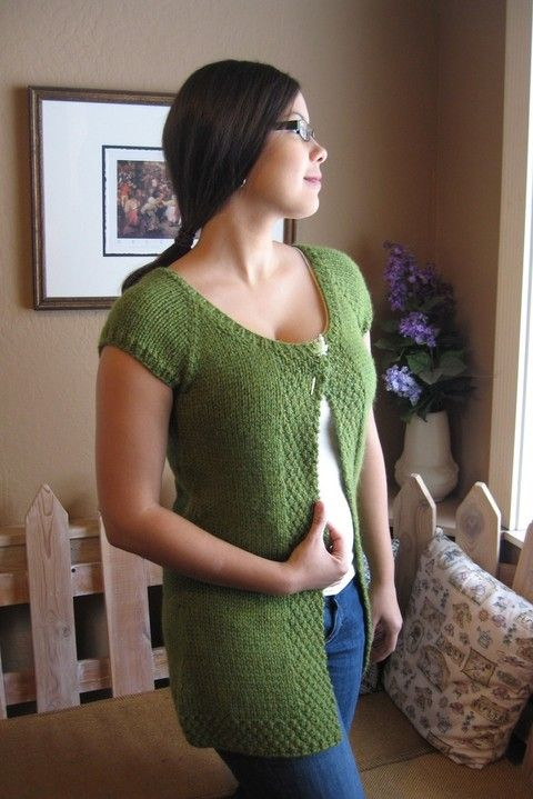 Knitting Pure And Simple 104 Cap Sleeve Cardigan Vest Knitting
