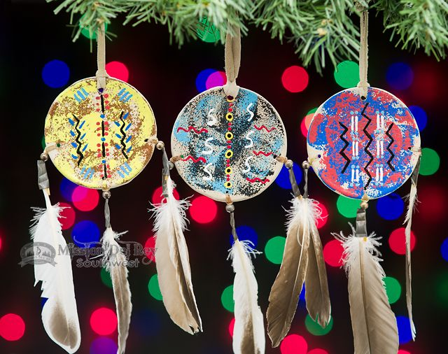 This is a very special set of three beautiful Navajo Indian hand painted  hoop shield Christmas ornaments. Painted by Indian artists, the shields are  real ... - Navajo Painted Shield Christmas Ornament -3 Set (o12) Christmas