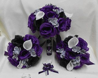Wedding Silk Flower Bridal Bouquets Package Calla Lily Black Purple Eggplant Plum Roses Silver Grey Brides