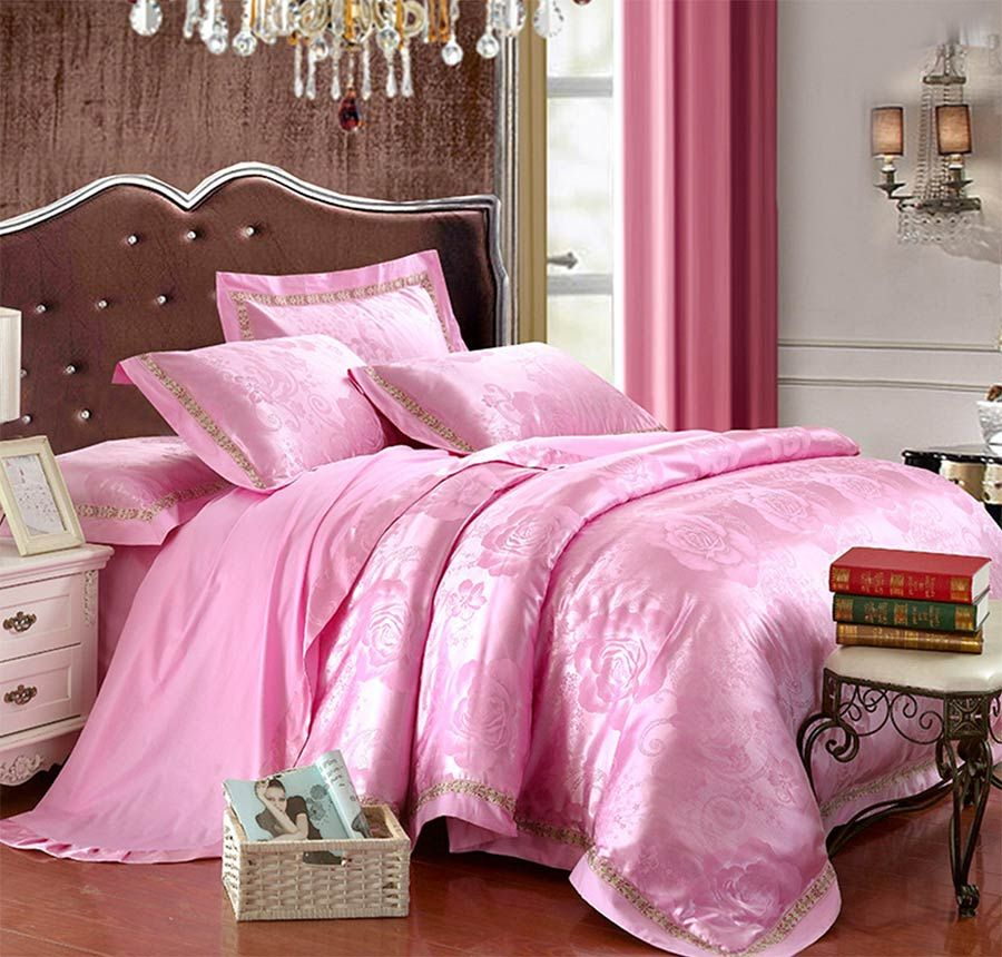 European American Jacquard Bedding Set Adult Teen,full Queen King Pink  Floral Home Textile Bed