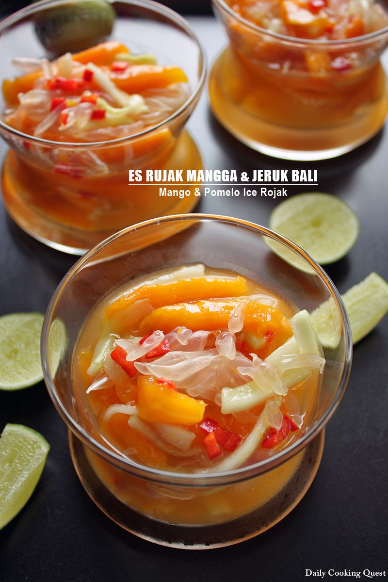 Es Rujak Mangga Dan Jeruk Bali Mango And Pomelo Ice Rojak Indonesian Food Halal Recipes Indonesian Desserts