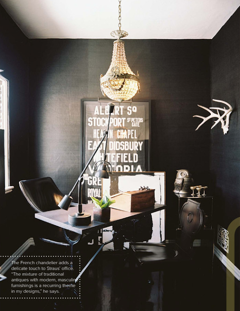 Masculine Office With Feminine Chandelier