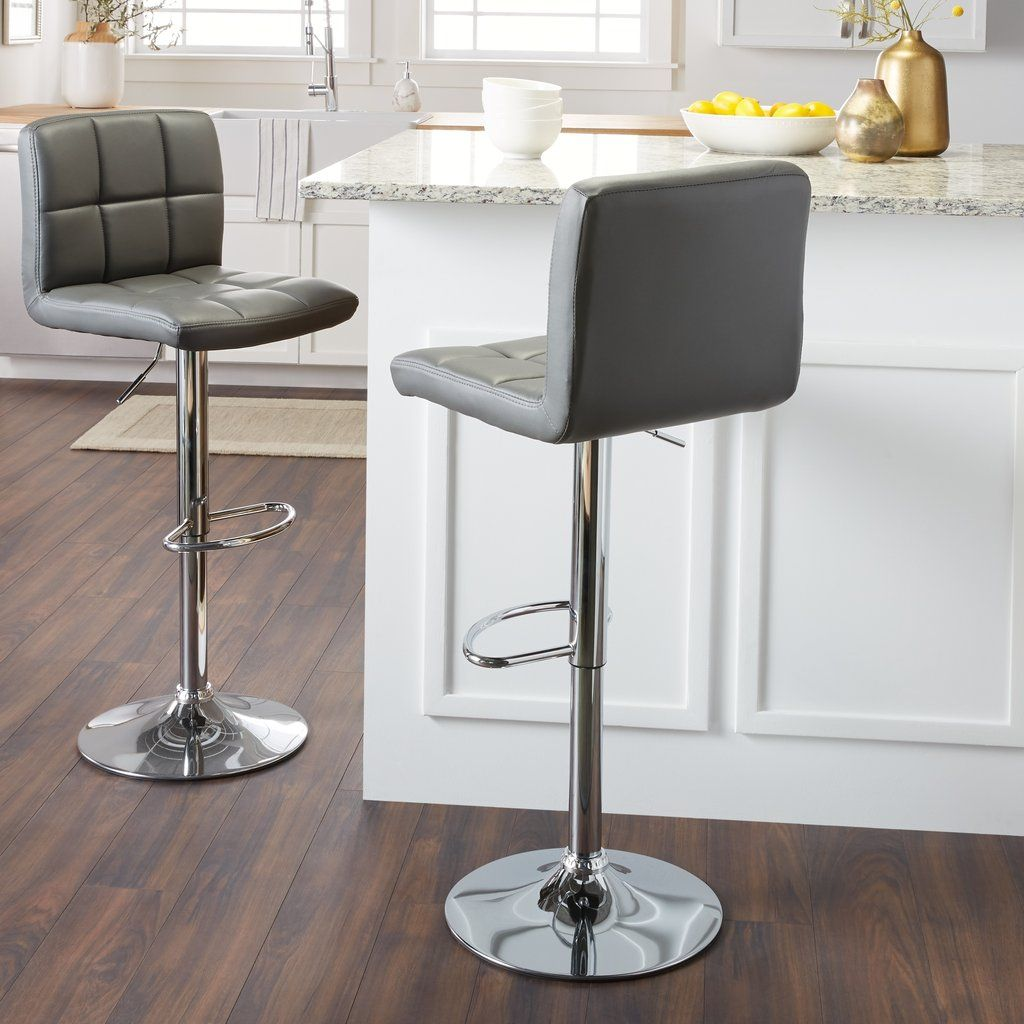 Fine Chrome And Faux Leather Height Adjustable Barstools Set Of Ibusinesslaw Wood Chair Design Ideas Ibusinesslaworg