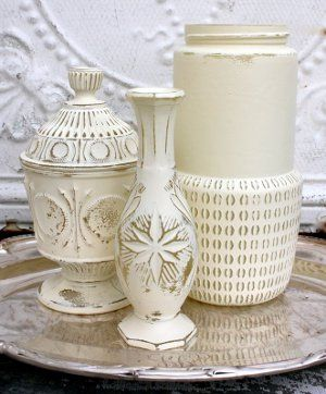 How to Upcycle Flea Market Vases - I love the white color for french country or shabby looks, bright colors will give a more modern feel! Come check out my other pins as guest pinner for @FaveCrafts this month!