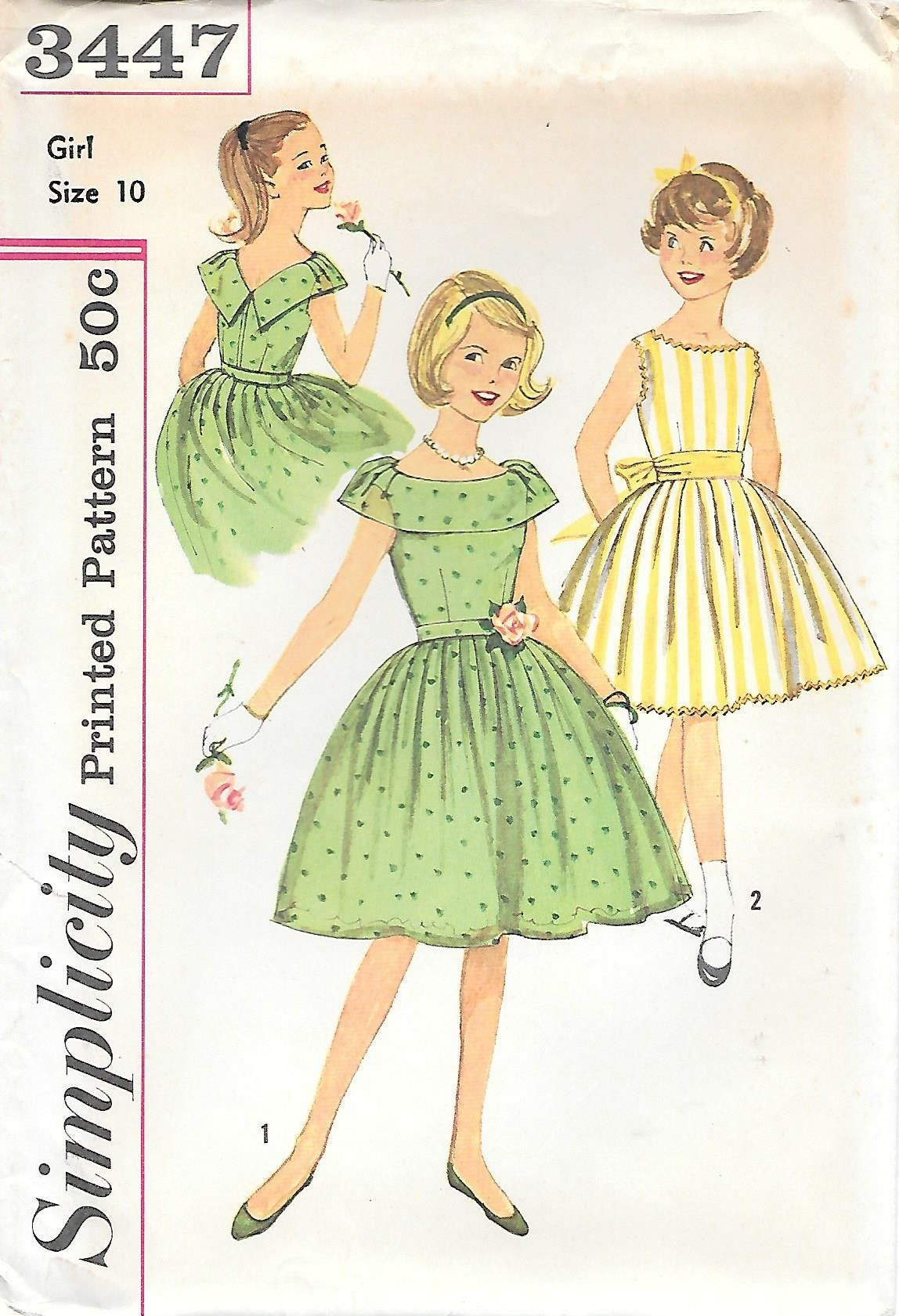 Vintage 1960s Simplicity 3447 Girls Sleeveless Party Dress Sewing Pattern Size 8 Or 10 Uncut Ff Sewing Patterns Girls Girls Party Dress Vintage Sewing Patterns [ 1681 x 1148 Pixel ]