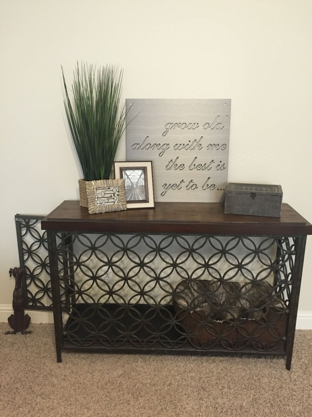 Turned a console table into a decorative dog crate Keep Calm and