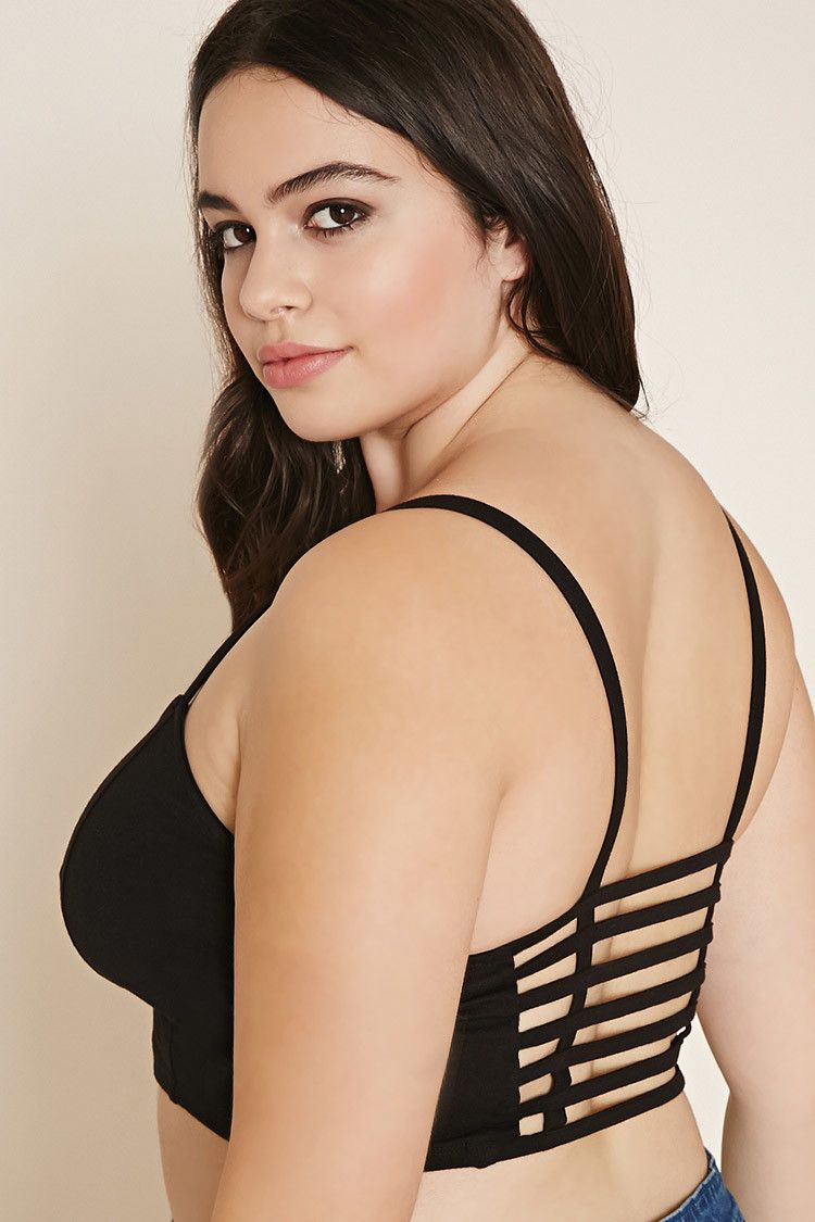 3698ab6c80 Forever 21+ - A knit bralette featuring a subtle sweetheart neckline with  cami straps with a caged cutout back.