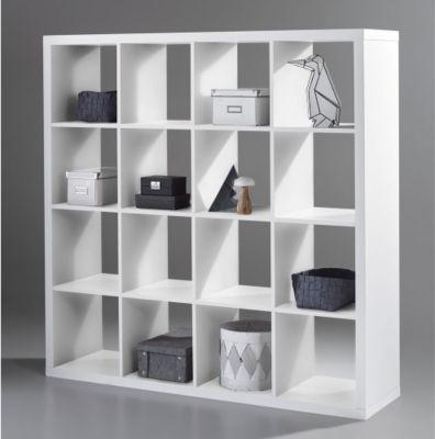 Raumteiler Selicia Weiss quadratisch 147x147 cm 16 Fächer Regal - wohnzimmer regal weis